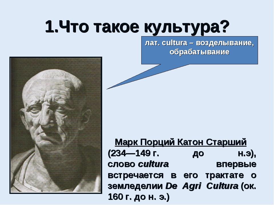 1.Что такое культура? лат. cultura – возделывание, обрабатывание Марк Порций...