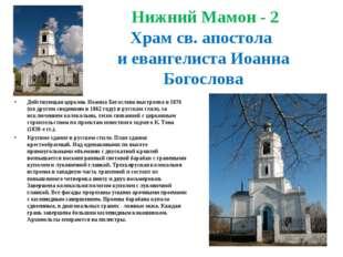 Нижний Мамон - 2 Храм св. апостола и евангелиста Иоанна Богослова Действующа