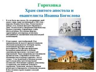 Гороховка Храм святого апостола и евангелиста Иоанна Богослова В селе было дв