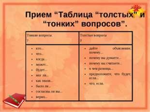 """Прием """"Таблица """"толстых"""" и """"тонких"""" вопросов""""."""