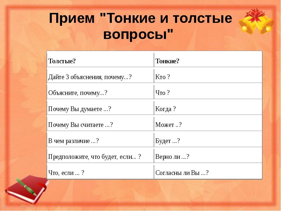 """Прием """"Тонкие и толстые вопросы"""""""