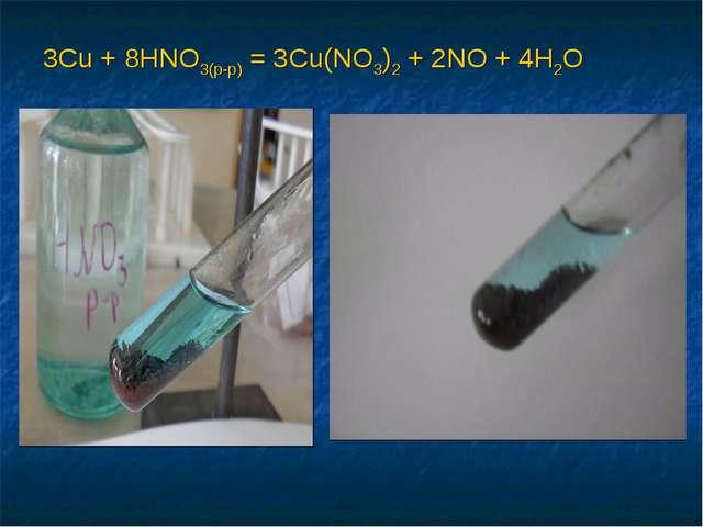 3Cu + 8HNO3(р-р) = 3Cu(NO3)2 + 2NO + 4H2O