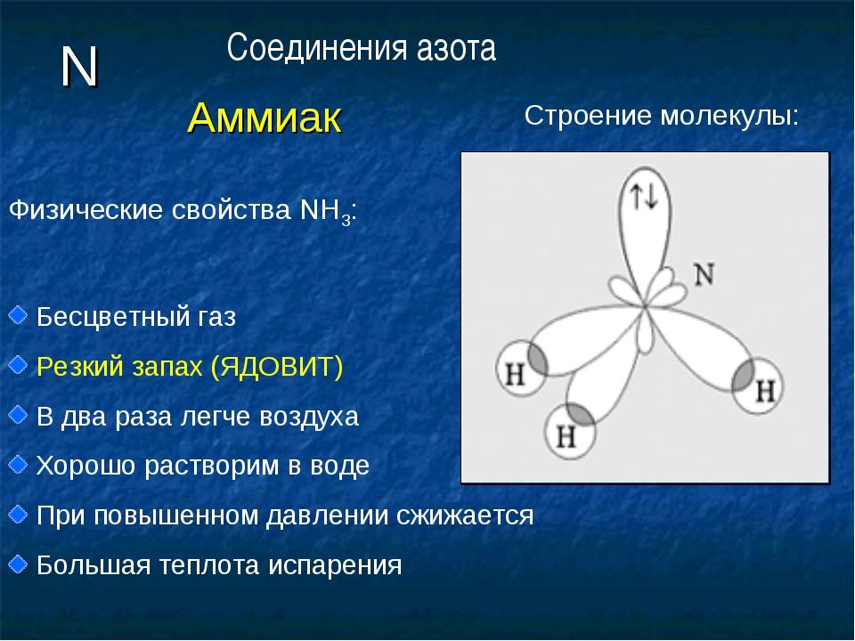 N Аммиак Физические свойства NH3: Бесцветный газ Резкий запах (ЯДОВИТ) В два...