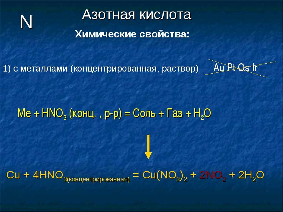 N Химические свойства: Азотная кислота с металлами (концентрированная, раство...