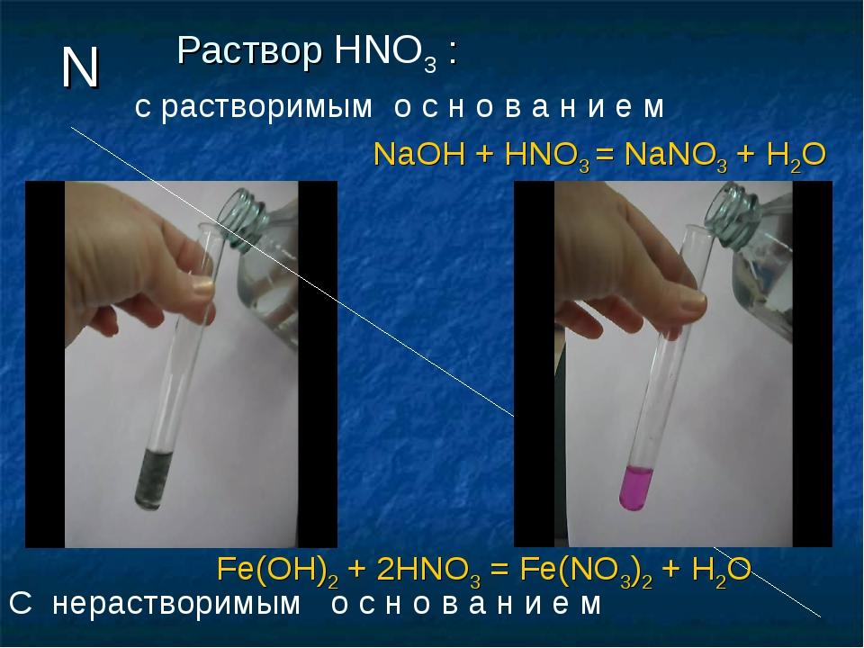 Раствор HNO3 : N C нерастворимым о с н о в а н и е м Fe(OH)2 + 2HNO3 = Fe(NO3...