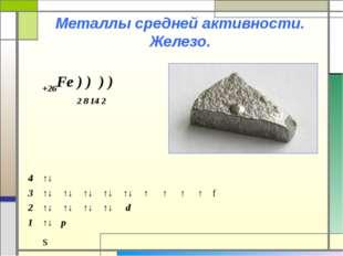 Металлы средней активности. Железо. +26Fe ) ) ) ) 2 8 14 2 s 4↑↓