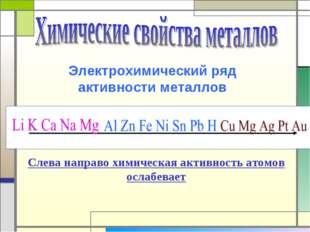 Электрохимический ряд активности металлов Слева направо химическая активность
