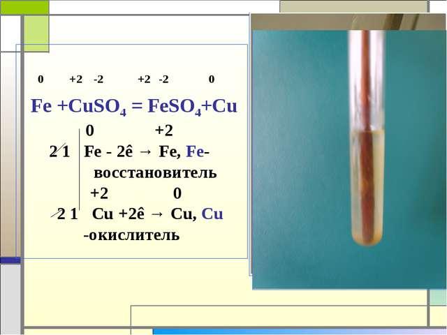 0 +2 -2 +2 -2 0 Fe +CuSO4 = FeSO4+Cu 0 +2 2 1 Fe - 2ê → Fe, Fe- восстановите...