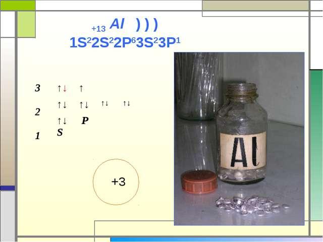 +13 Al ) ) ) 1S22S22P63S23P1 +3 3 2 1↑↓↑ ↑↓↑↓↑↓↑↓ ↑↓ S P