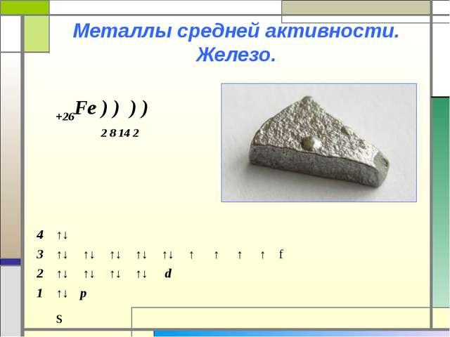 Металлы средней активности. Железо. +26Fe ) ) ) ) 2 8 14 2 s 4↑↓...