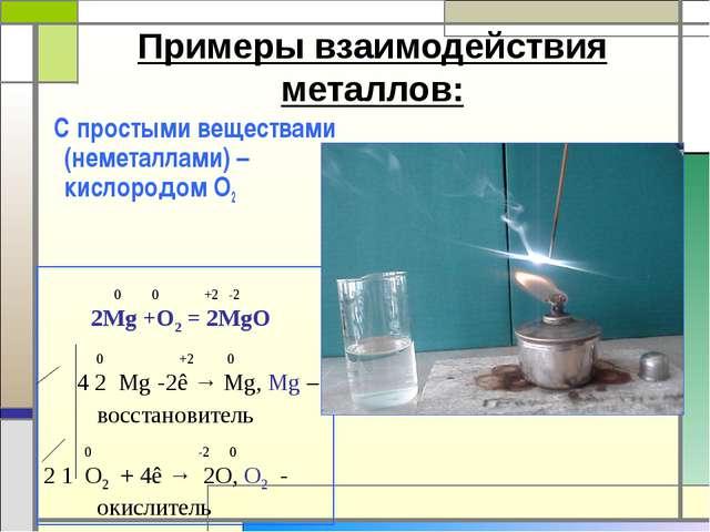 Примеры взаимодействия металлов: С простыми веществами (неметаллами) – кислор...