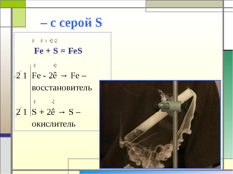 – с серой S 0 0 t +2 -2 Fe + S = FeS 0 +2 2 1 Fe - 2ê → Fe – восстановитель...