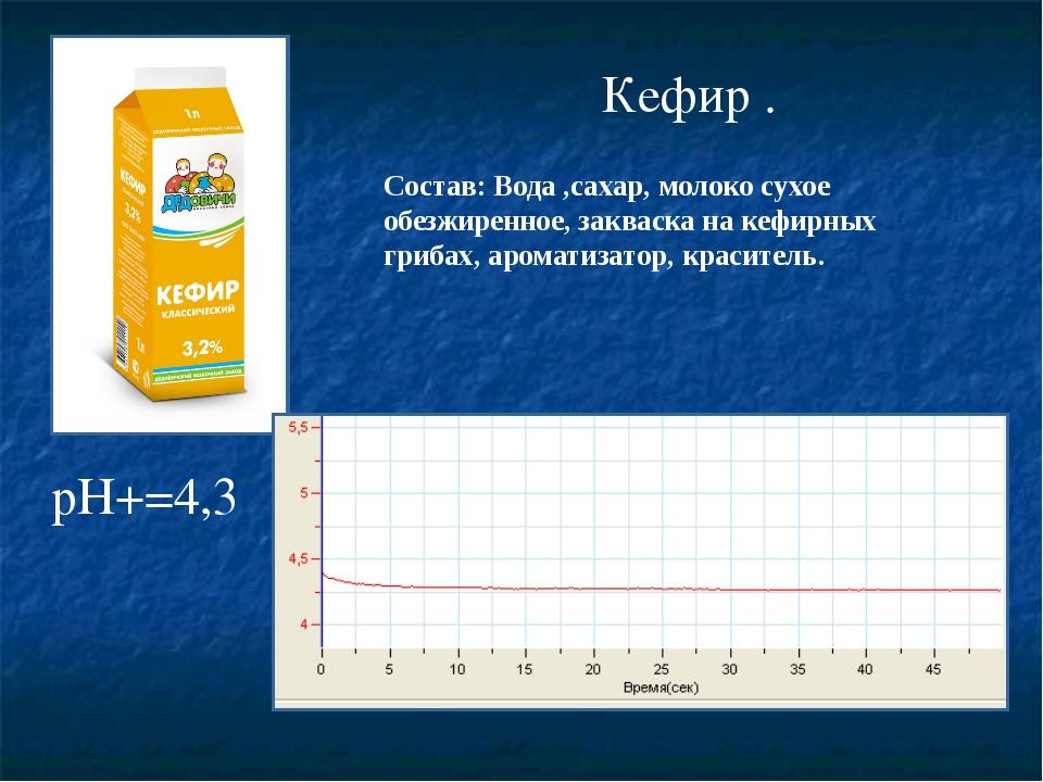 Кефир . pH+=4,3 Состав: Вода ,сахар, молоко сухое обезжиренное, закваска на...