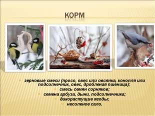 зерновые смеси (просо, овес или овсянка, конопля или подсолнечник, овес, дроб