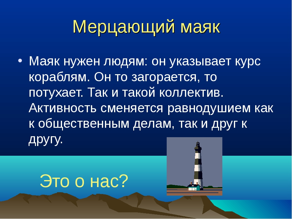 Мерцающий маяк Маяк нужен людям: он указывает курс кораблям. Он то загорается...