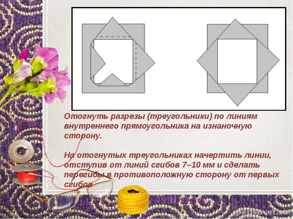 Отогнуть разрезы (треугольники) по линиям внутреннего прямоугольника на изнан...