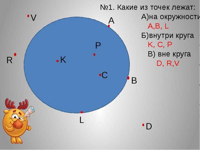 А В Р С K L №1. Какие из точек лежат: А)на окружности: А,В, L Б)внутри круга...