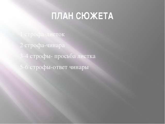 ПЛАН СЮЖЕТА 1 строфа-листок 2 строфа-чинара 3-4 строфы- просьба листка 5-6 ст...