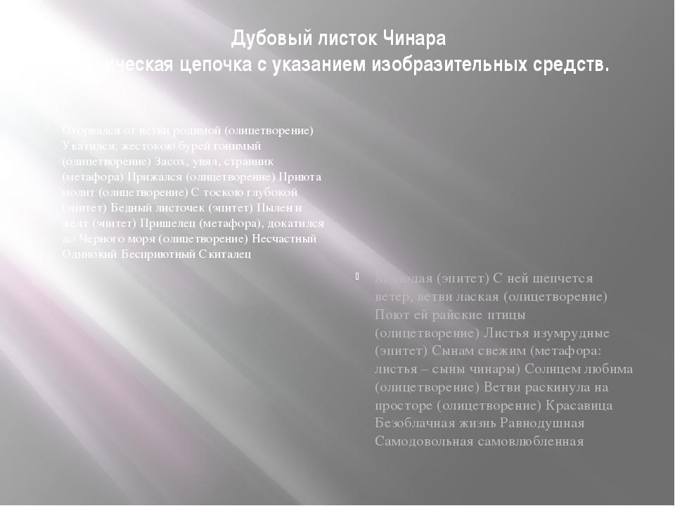 Дубовый листок Чинара Лексическая цепочка с указанием изобразительных средств...