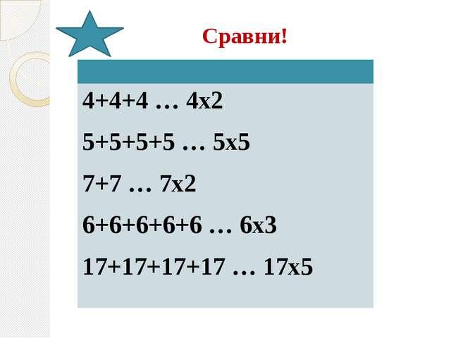 Сравни! 4+4+4 … 4х2 5+5+5+5 … 5х5 7+7 … 7х2 6+6+6+6+6 … 6х3 17+17+17+17 … 17х5
