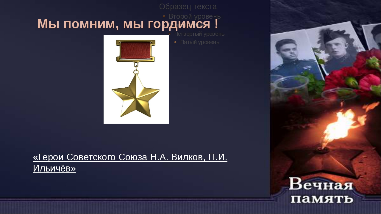 Мы помним, мы гордимся ! «Герои Советского Союза Н.А. Вилков, П.И. Ильичёв»