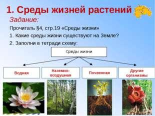 1. Среды жизней растений Задание: Прочитать §4, стр.19 «Среды жизни»  1. Как