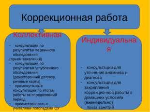 Коррекционная работа Коллективная консультации по результатам первичного обсл