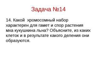 Задача №14 14. Какой хромосомный набор характерен для гамет и спор рас