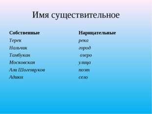Имя существительное Собственные Терек Нальчик Тамбукан Московская Али Шогенцу