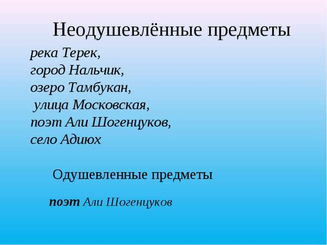 Неодушевлённые предметы поэт Али Шогенцуков река Терек, город Нальчик, озеро...