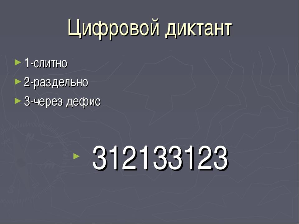 Цифровой диктант 1-слитно 2-раздельно 3-через дефис 312133123
