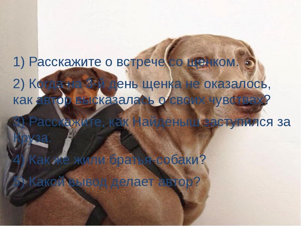 1) Расскажите о встрече со щенком. 2) Когда на 3-й день щенка не оказалось,...