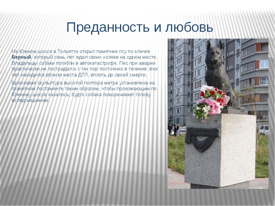 Преданность и любовь На Южном шоссе в Тольятти открыт памятник псу по кличке...