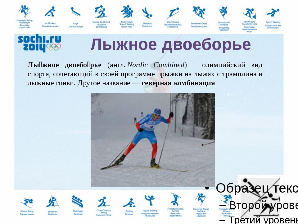 Прыжки на лыжах с трамплина (англ.ski jumping)— вид спорта, включающий прыж...