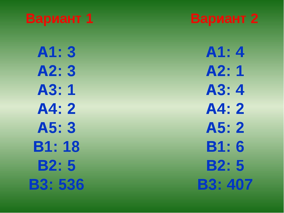 Вариант 1 Вариант 2 А1: 3 А2: 3 А3: 1 А4: 2 А5: 3 В1: 18 В2: 5 В3: 536 А1: 4...