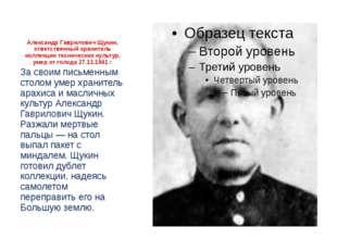 Александр Гаврилович Щукин, ответственный хранитель коллекции техническихкул