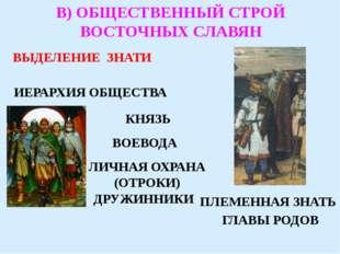 В) ОБЩЕСТВЕННЫЙ СТРОЙ ВОСТОЧНЫХ СЛАВЯН ИЕРАРХИЯ ОБЩЕСТВА КНЯЗЬ ВОЕВОДА ЛИЧНАЯ