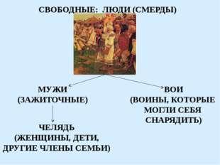 СВОБОДНЫЕ: ЛЮДИ (СМЕРДЫ) МУЖИ (ЗАЖИТОЧНЫЕ) ВОИ (ВОИНЫ, КОТОРЫЕ МОГЛИ СЕБЯ СНА