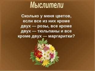 Сколько у меня цветов, если все из них кроме двух — розы, все кроме двух — тю