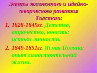 Этапы жизненного и идейно-творческого развития Толстого: 1828-1849гг. Детство