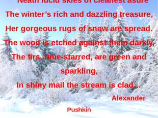 Neath lucid skies of cleanest asure The winter's rich and dazzling treasure,
