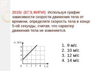 2015г. (ЕГЭ,ФИПИ) Используя график зависимости скорости движения тела от врем