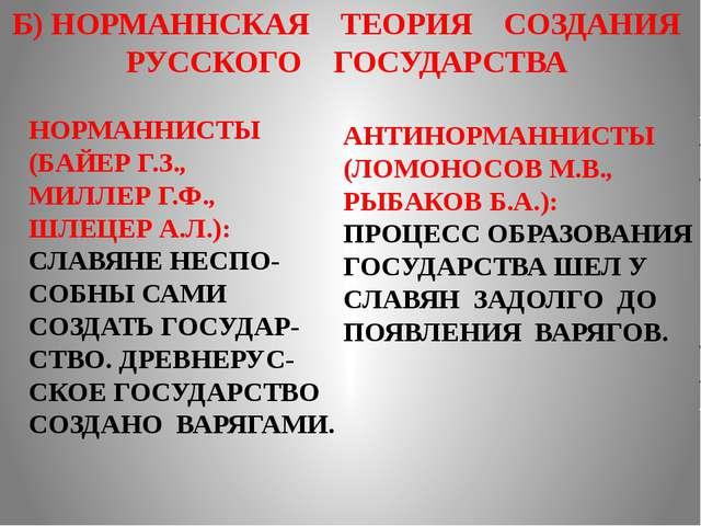 Б) НОРМАННСКАЯ ТЕОРИЯ СОЗДАНИЯ РУССКОГО ГОСУДАРСТВА НОРМАННИСТЫ (БАЙЕР Г.З.,...