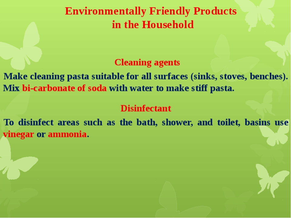 Environmentally Friendly Products in the Household Cleaning agents Make clea...