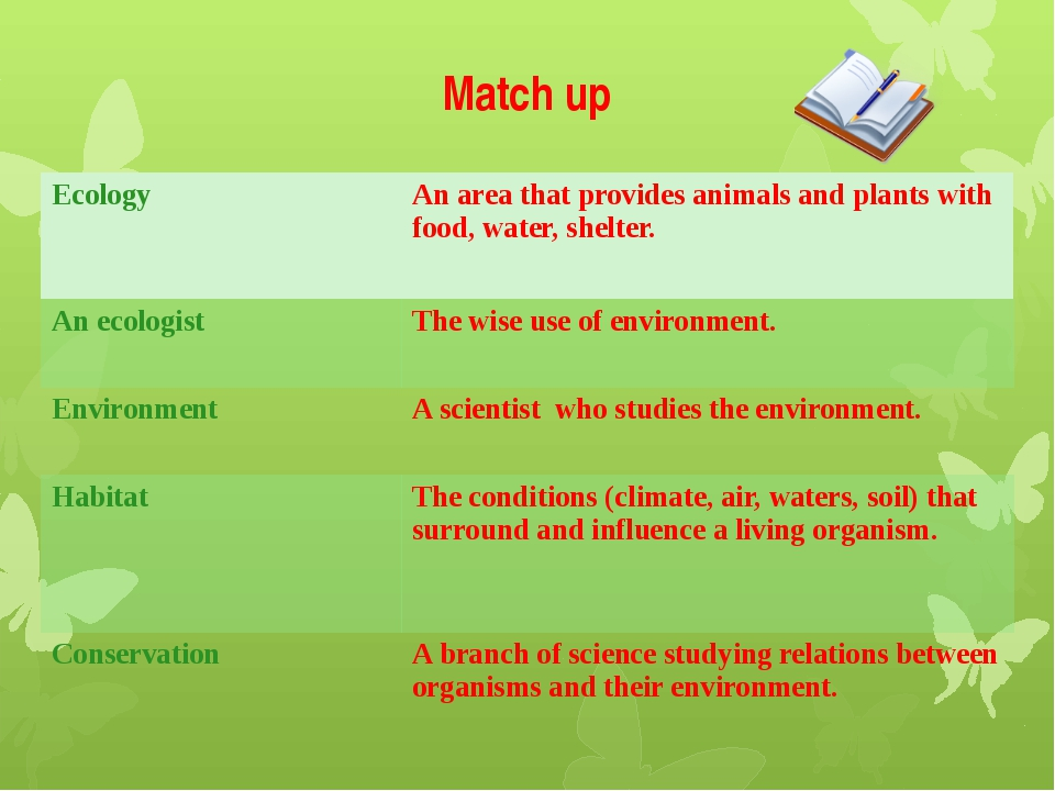 Match up Ecology An area that provides animals and plants with food, water, s...