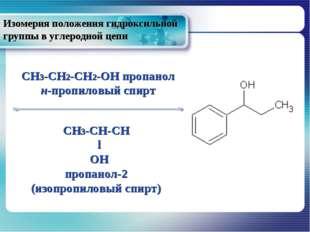 Изомерия положения гидроксильной группы в углеродной цепи CH3-CH2-CH2-OH проп
