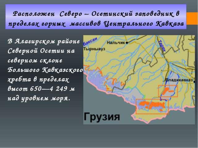 Расположен Северо – Осетинский заповедник в пределах горных массивов Централь...