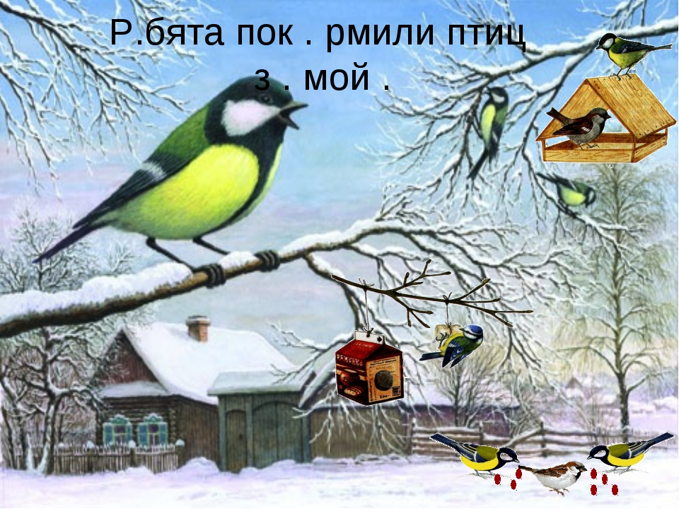Р.бята пок . рмили птиц з . мой .