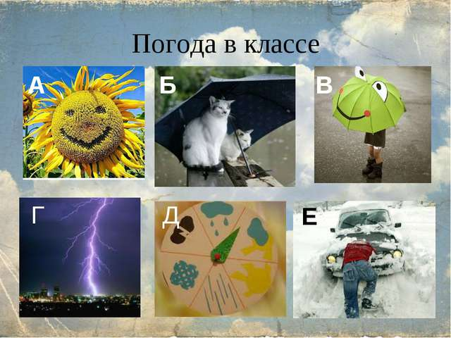 Погода в классе А Б В Е Д Г