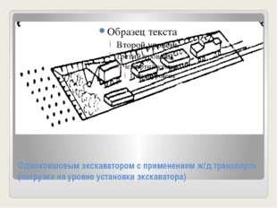 Одноковшовым экскаватором с применением ж/д транспорта (погрузка на уровне ус